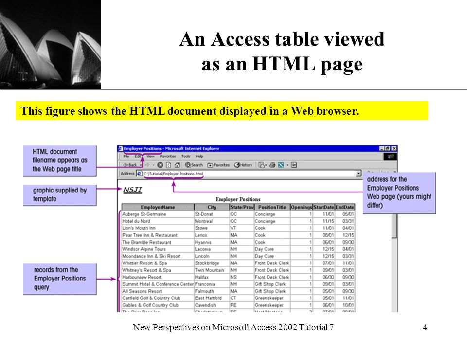 XP New Perspectives on Microsoft Access 2002 Tutorial 74 An Access table viewed as an HTML page This figure shows the HTML document displayed in a Web browser.