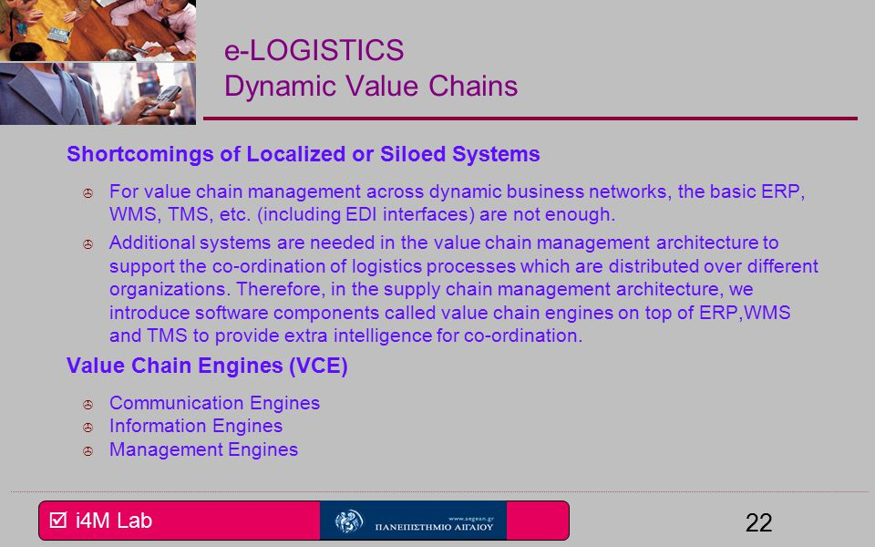  i4M Lab 22 e-LOGISTICS Dynamic Value Chains Shortcomings of Localized or Siloed Systems  For value chain management across dynamic business networks, the basic ERP, WMS, TMS, etc.