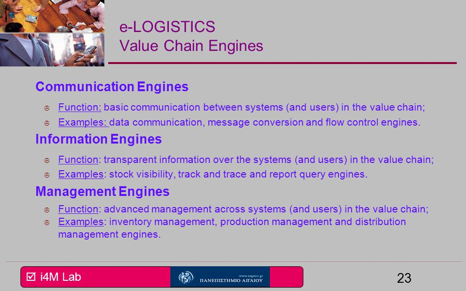  i4M Lab 23 e-LOGISTICS Value Chain Engines Communication Engines  Function: basic communication between systems (and users) in the value chain;  Examples: data communication, message conversion and flow control engines.