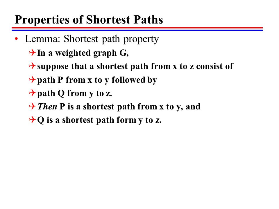 Properties of Shortest Paths Lemma: Shortest path property  In a weighted graph G,  suppose that a shortest path from x to z consist of  path P from x to y followed by  path Q from y to z.