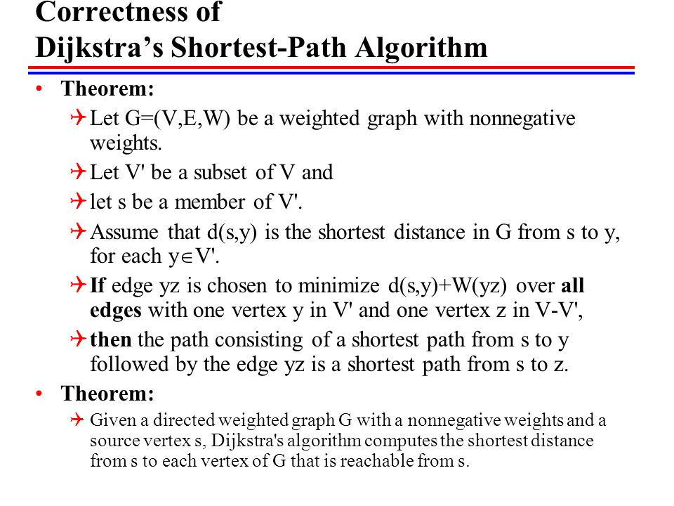 Correctness of Dijkstra's Shortest-Path Algorithm Theorem:  Let G=(V,E,W) be a weighted graph with nonnegative weights.