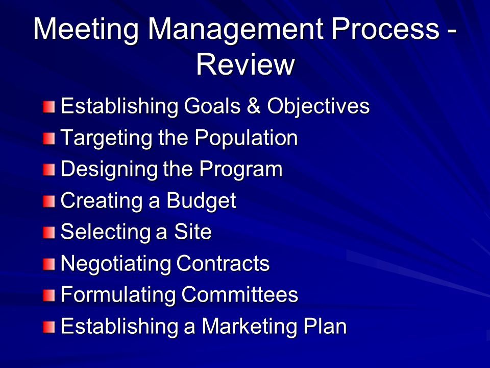 Meeting Management Process - Review Establishing Goals & Objectives Targeting the Population Designing the Program Creating a Budget Selecting a Site Negotiating Contracts Formulating Committees Establishing a Marketing Plan