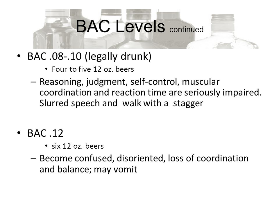 BAC Levels continued BAC (legally drunk) Four to five 12 oz.