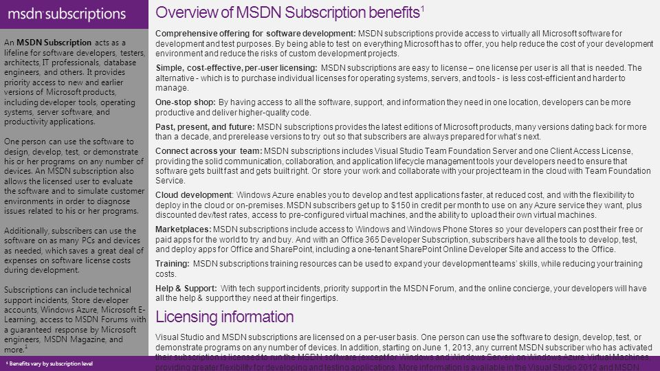 An MSDN Subscription acts as a lifeline for software developers ...