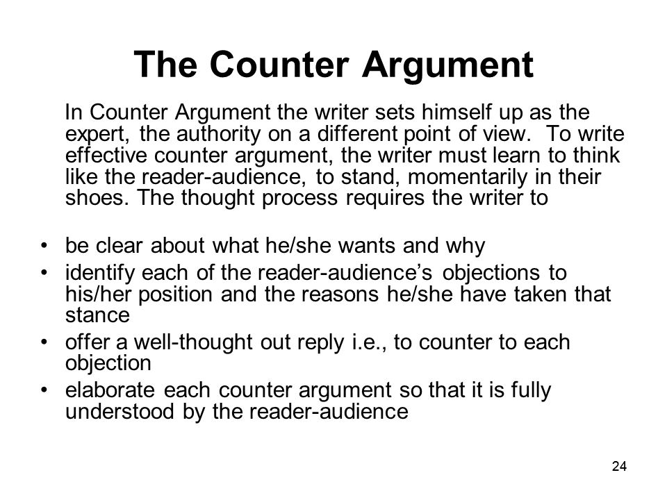 persuasive essay counter argument paragraph The purpose of the persuasive essay is to give an argumentative analysis most persuasive writing include a paragraph of the counter argument and explain.