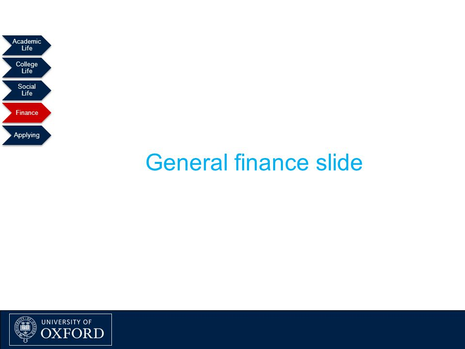 Academic Life College Life Social Life Finance Applying General finance slide