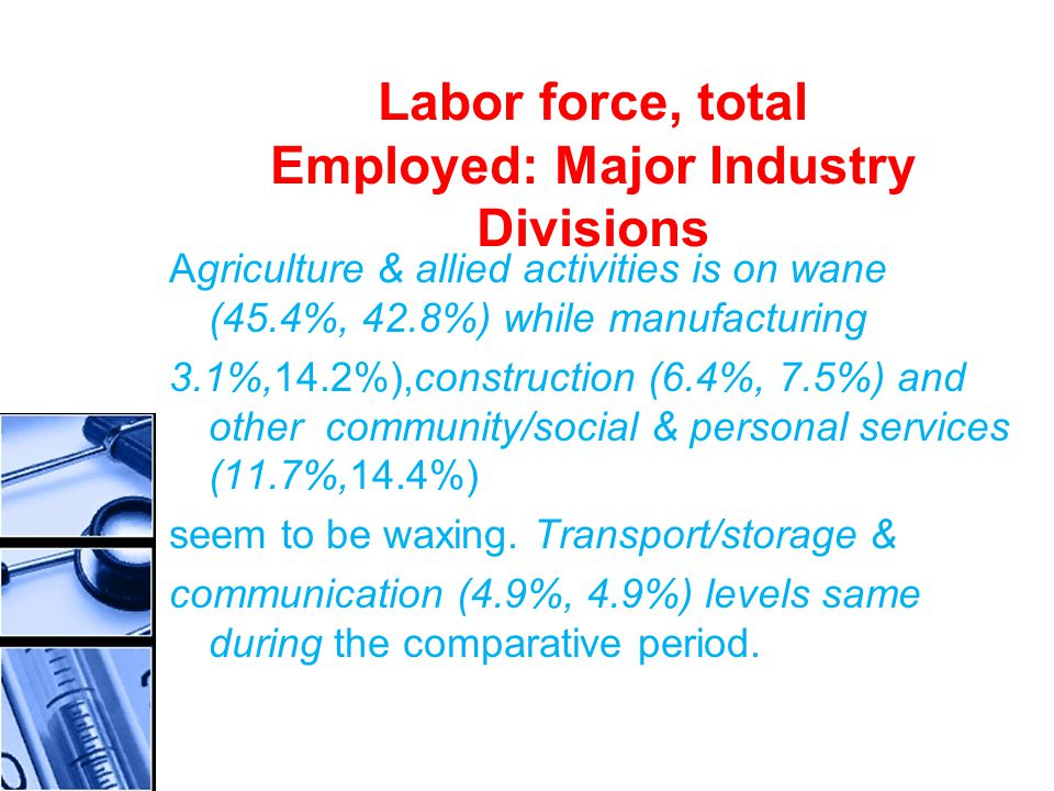 Labor force, total Employed: Major Industry Divisions Agriculture & allied activities is on wane (45.4%, 42.8%) while manufacturing 3.1%,14.2%),construction (6.4%, 7.5%) and other community/social & personal services (11.7%,14.4%) seem to be waxing.