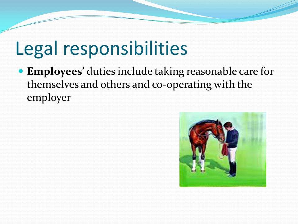 Legal responsibilities Employees' duties include taking reasonable care for themselves and others and co-operating with the employer