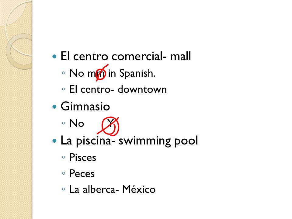 El centro comercial- mall No mm in Spanish. El centro- downtown Gimnasio NoY La piscina- swimming pool Pisces Peces La alberca- México