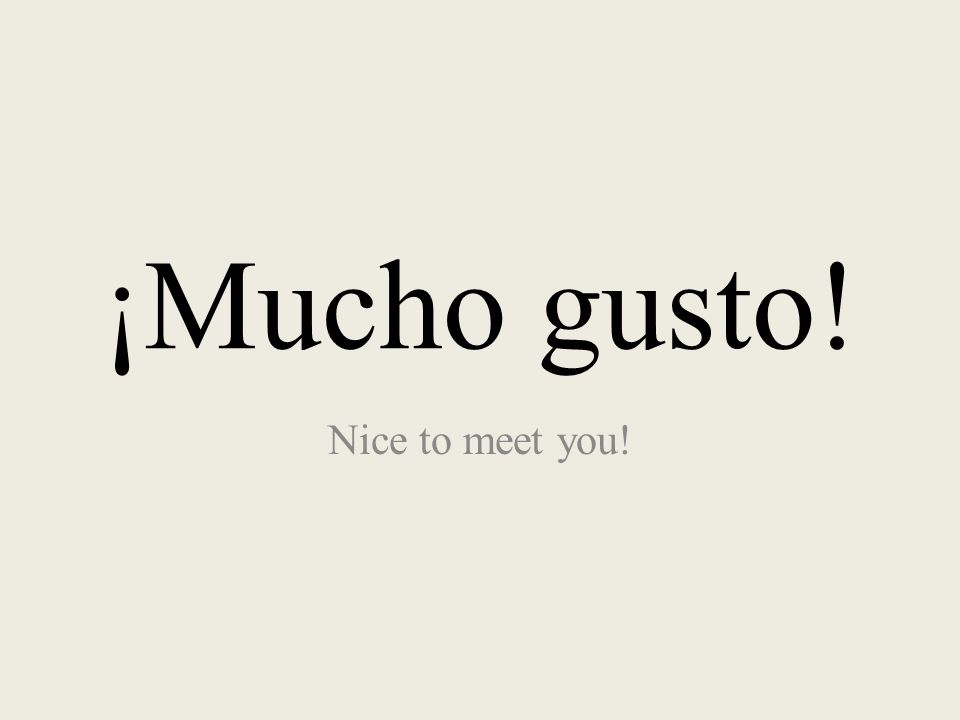 ¡Mucho gusto! Nice to meet you!