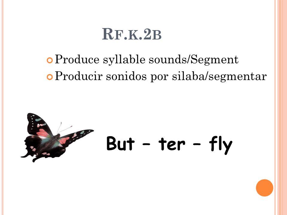 R F. K.2 B Produce syllable sounds/Segment Producir sonidos por silaba/segmentar But – ter – fly