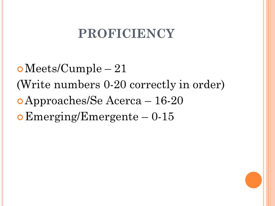 PROFICIENCY Meets/Cumple – 21 (Write numbers 0-20 correctly in order) Approaches/Se Acerca – 16-20 Emerging/Emergente – 0-15