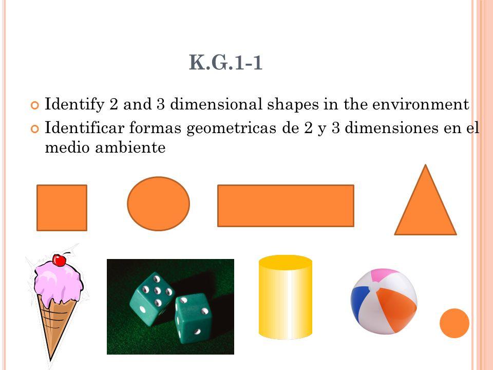 K.G.1-1 Identify 2 and 3 dimensional shapes in the environment Identificar formas geometricas de 2 y 3 dimensiones en el medio ambiente