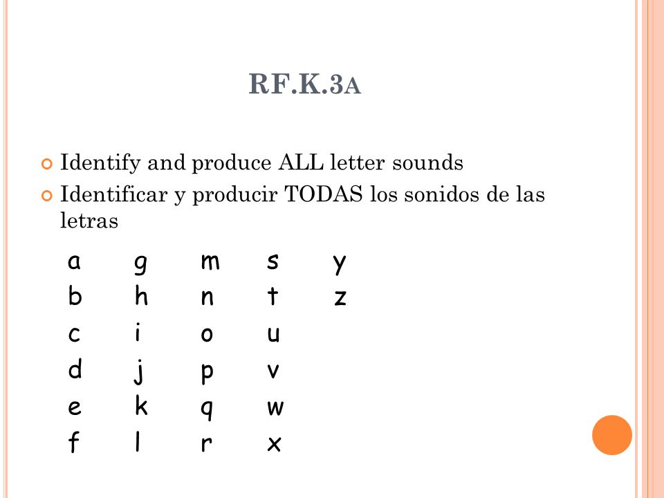 RF.K.3 A Identify and produce ALL letter sounds Identificar y producir TODAS los sonidos de las letras agmsybhntzcioudjpvekqwflrxagmsybhntzcioudjpvekqwflrx