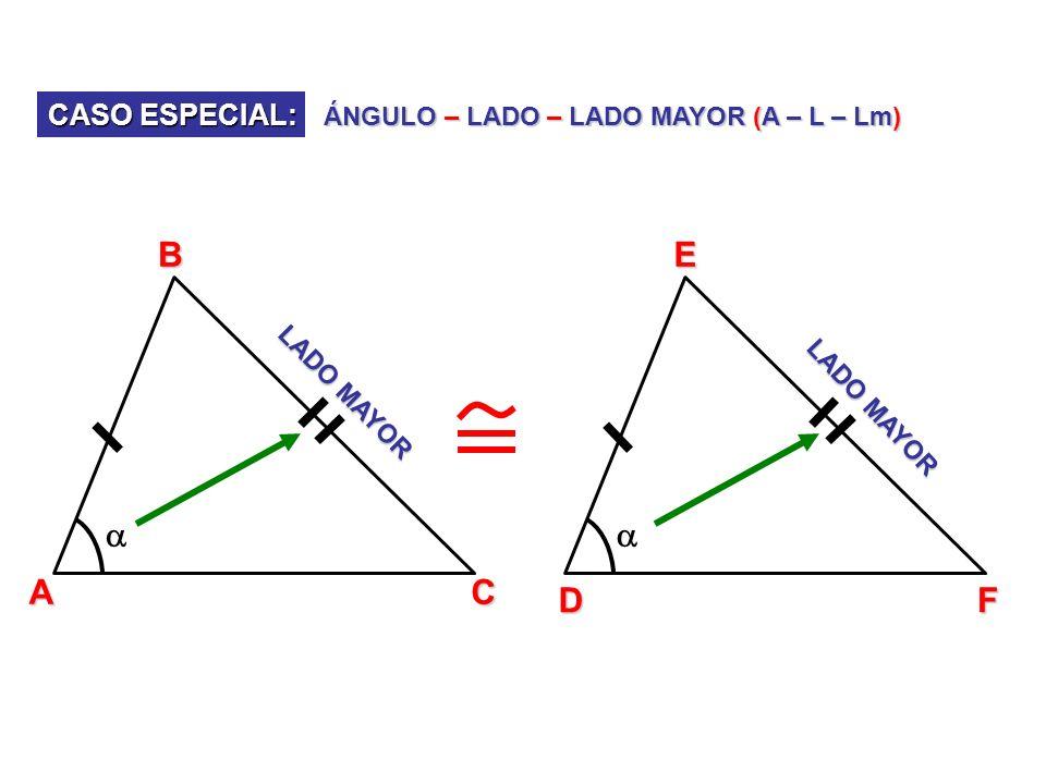 CASO ESPECIAL: ÁNGULO – LADO – LADO MAYOR (A – L – Lm) ABC DEF LADO MAYOR