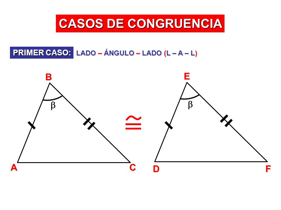 CASOS DE CONGRUENCIA PRIMER CASO: LADO – ÁNGULO – LADO (L – A – L) ABC DEF