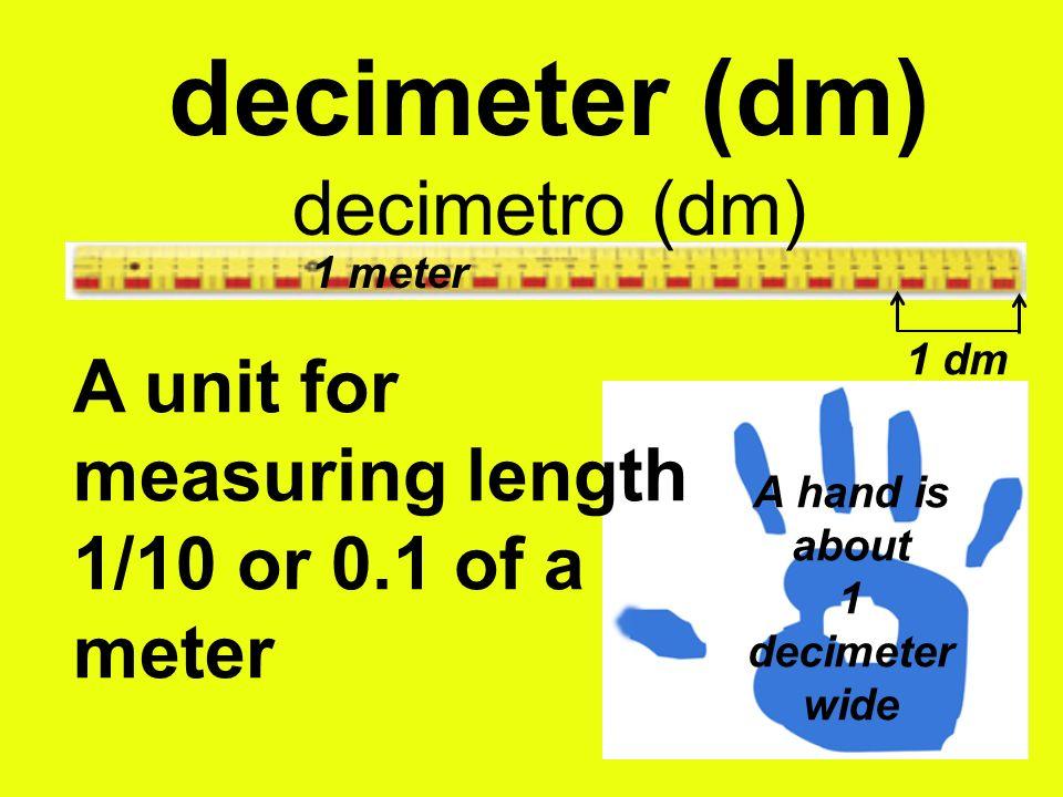 decimeter (dm) decimetro (dm) A hand is about 1 decimeter wide A unit for measuring length 1/10 or 0.1 of a meter 1 meter 1 dm