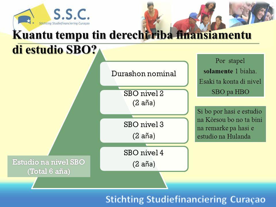 Si bo por hasi e estudio na Kòrsou bo no ta bini na remarke pa hasi e estudio na Hulanda Durashon nominal SBO nivel 2 (2 a ña) SBO nivel 3 (2 a ña) SBO nivel 4 (2 a ña) Por stapel solamente 1 biaha.