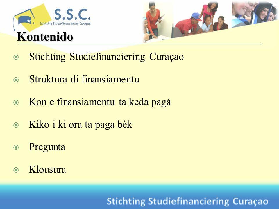 Stichting Studiefinanciering Curaçao Struktura di finansiamentu Kon e finansiamentu ta keda pagá Kiko i ki ora ta paga bèk Pregunta Klousura