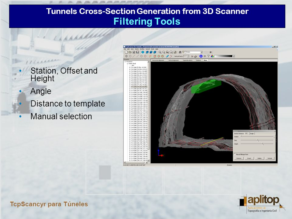 Tunnels Cross-Section Generation from 3D Scanner TcpScancyr para Túneles Station range Origin point, start and end angles variables Representation in real-time Angle Filtering