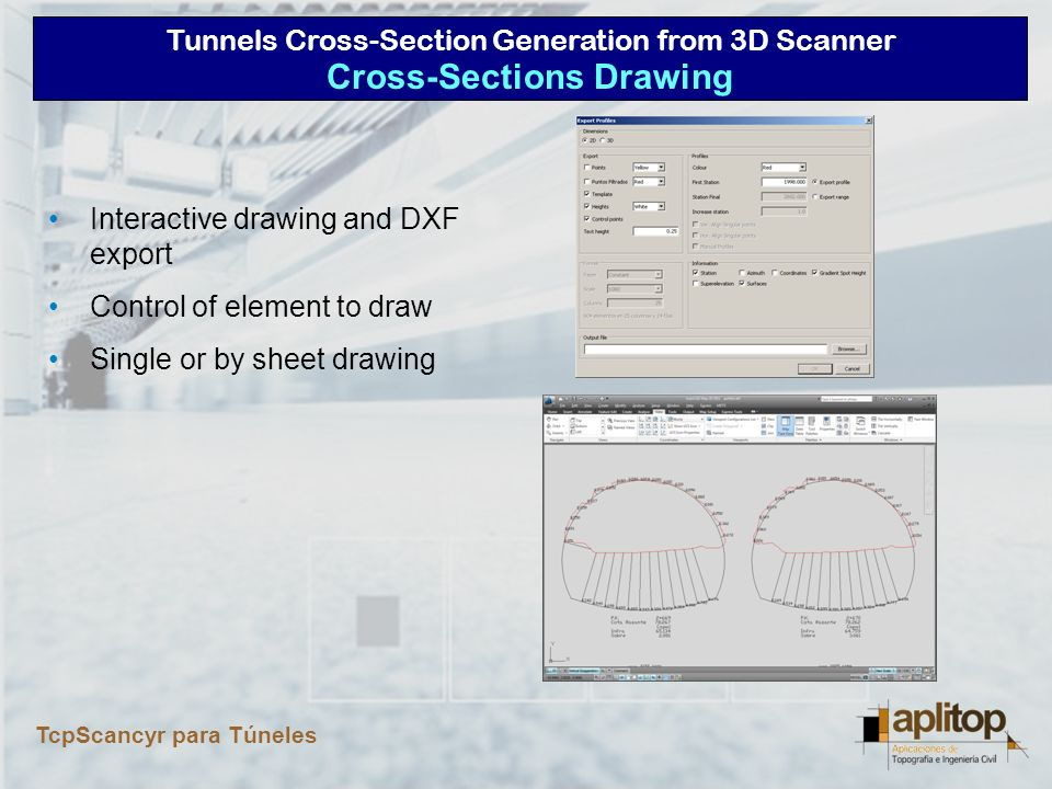 Tunnels Cross-Section Generation from 3D Scanner TcpScancyr para Túneles Areas and Volumes Report