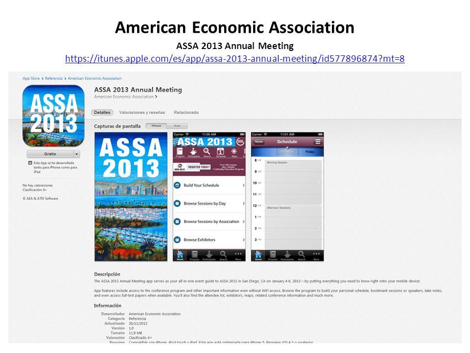 American Economic Association ASSA 2013 Annual Meeting https://itunes.apple.com/es/app/assa-2013-annual-meeting/id577896874 mt=8