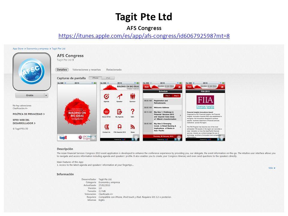 Tagit Pte Ltd AFS Congress https://itunes.apple.com/es/app/afs-congress/id606792598?mt=8