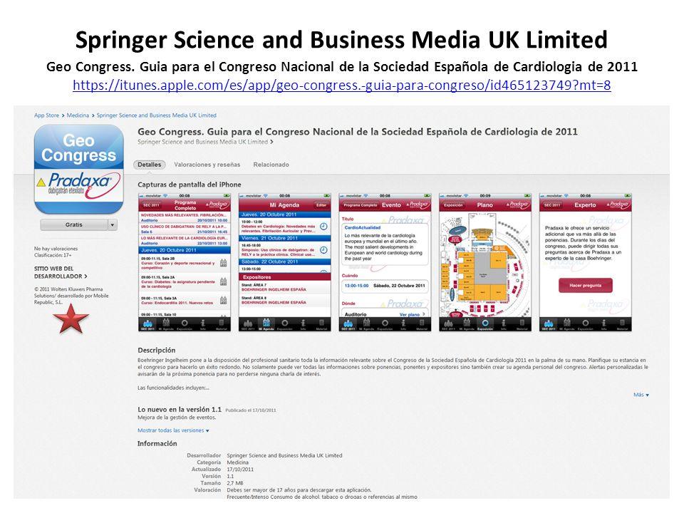 Springer Science and Business Media UK Limited Geo Congress. Guia para el Congreso Nacional de la Sociedad Española de Cardiologia de 2011 https://itu