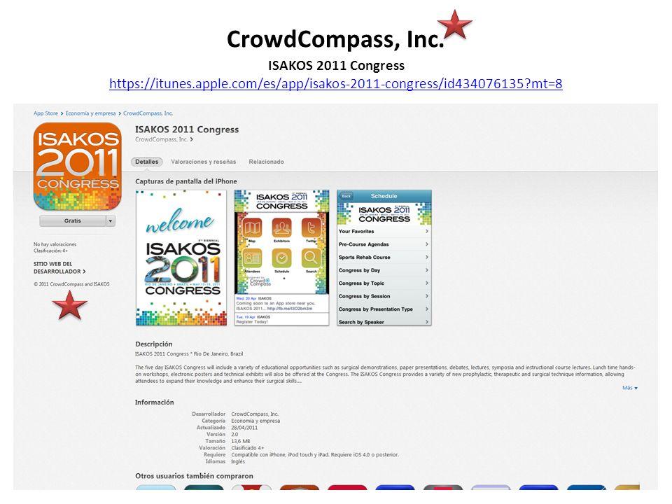 CrowdCompass, Inc. ISAKOS 2011 Congress https://itunes.apple.com/es/app/isakos-2011-congress/id434076135?mt=8 https://itunes.apple.com/es/app/isakos-2