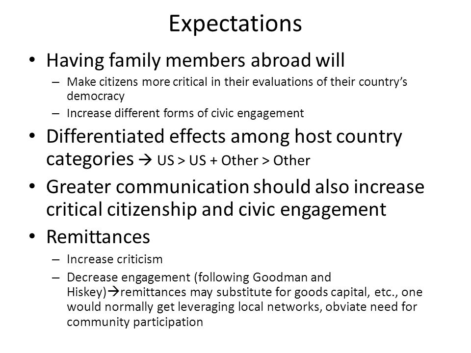 Expectations Having family members abroad will – Make citizens more critical in their evaluations of their countrys democracy – Increase different forms of civic engagement Differentiated effects among host country categories US > US + Other > Other Greater communication should also increase critical citizenship and civic engagement Remittances – Increase criticism – Decrease engagement (following Goodman and Hiskey) remittances may substitute for goods capital, etc., one would normally get leveraging local networks, obviate need for community participation