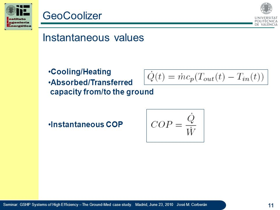GeoCoolizer 11 Cooling/Heating capacity Absorbed/Transferred capacity from/to the ground Instantaneous COP Instantaneous values Seminar: GSHP Systems
