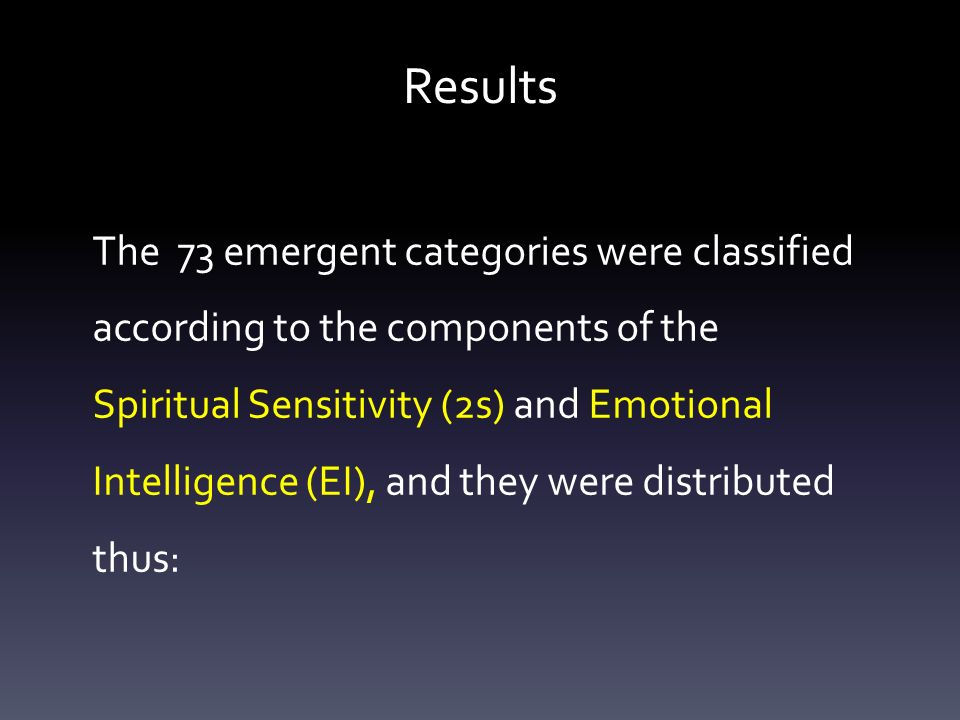 Results The 73 emergent categories were classified according to the components of the Spiritual Sensitivity (2s) and Emotional Intelligence (EI), and they were distributed thus: