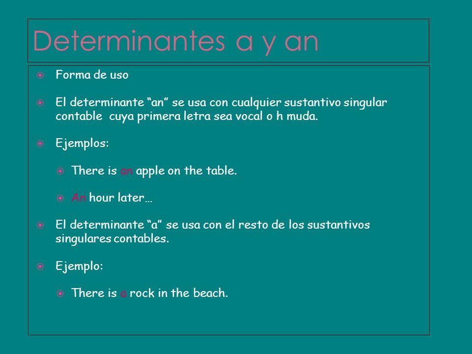 Determinantes a y an Forma de uso El determinante an se usa con cualquier sustantivo singular contable cuya primera letra sea vocal o h muda. Ejemplos