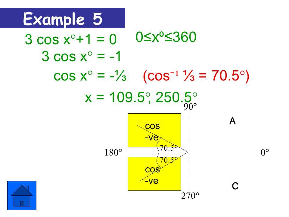 270° 180° 90° 0°0° 2Sin x° = 10x360 A T S C (Sin ¹ ½ = 30°) x = 30° Sin x° = ½,150° 30º Example 4 Sin +ve