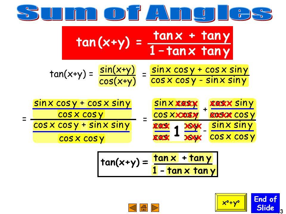 13 = sin x cos y + cos x sin y cos x cos y End of Slide tan x + tan y 1 – tan x tan y tan (x+y) = x o +y o tan(x+y) = sin(x+y) cos(x+y) cos x cos y -