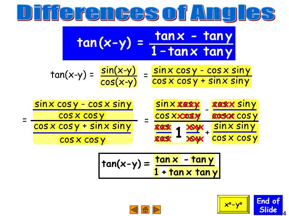 14 = sin x cos y - cos x sin y cos x cos y End of Slide tan x - tan y 1 – tan x tan y tan (x-y) = x o -y o tan(x-y) = sin(x-y) cos(x-y) cos x cos y +