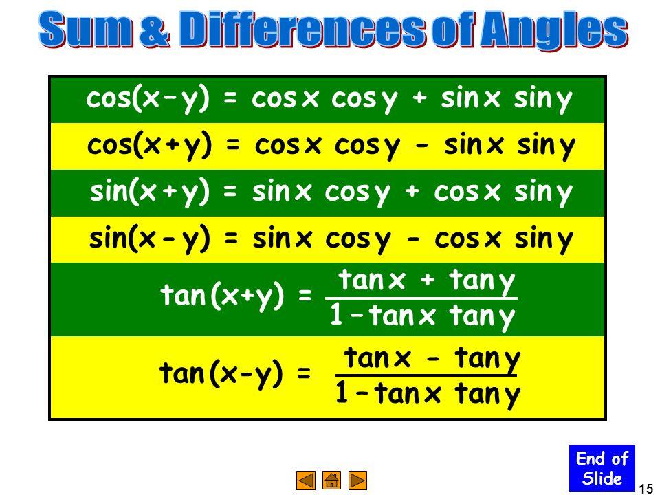 15 End of Slide cos(x – y) = cos x cos y + sin x sin y cos(x + y) = cos x cos y - sin x sin y sin(x + y) = sin x cos y + cos x sin y sin(x - y) = sin