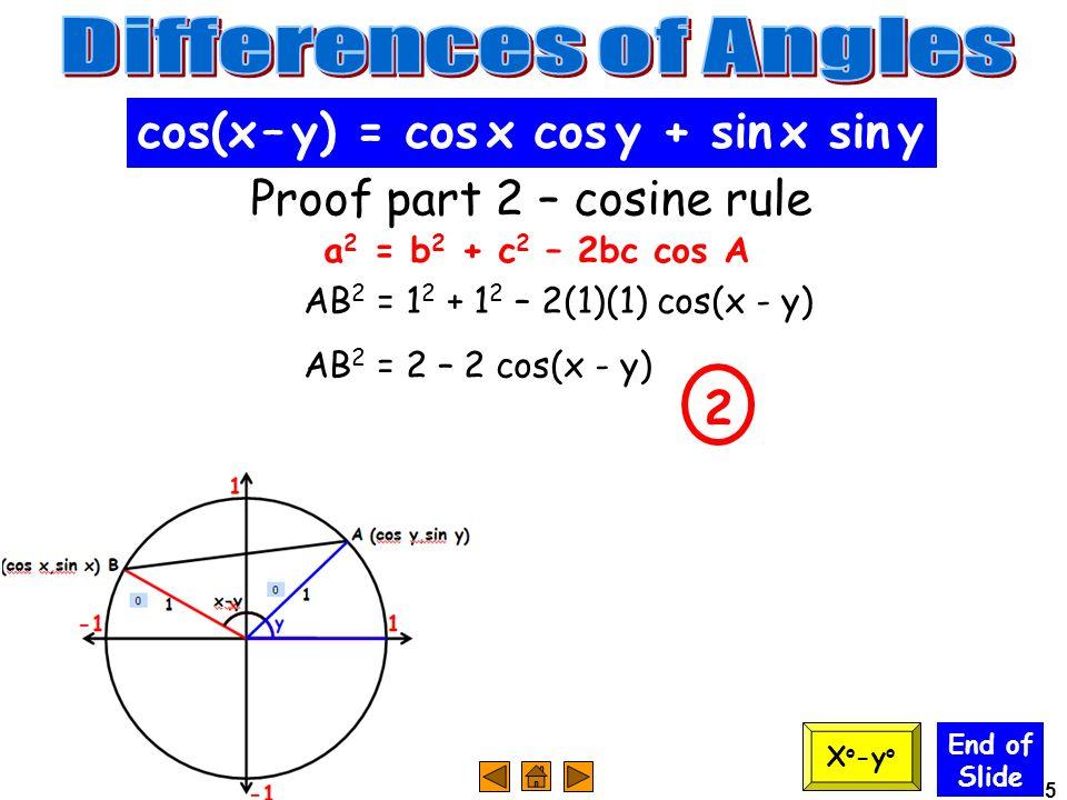 5 End of Slide cos(x – y) = cos x cos y + sin x sin y Proof part 2 – cosine rule a 2 = b 2 + c 2 – 2bc cos A AB 2 = 1 2 + 1 2 – 2(1)(1) cos(x - y) AB