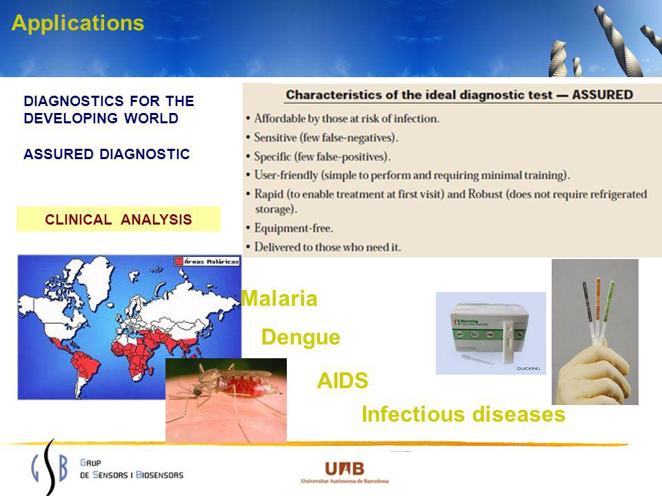 Applications DIAGNOSTICS FOR THE DEVELOPING WORLD ASSURED DIAGNOSTIC CLINICAL ANALYSIS Malaria Dengue AIDS Infectious diseases