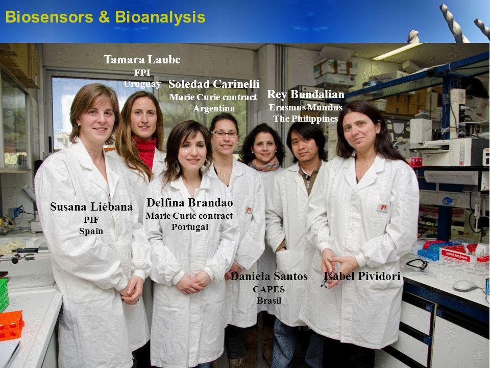 Biosensors & Bioanalysis Susana Liébana PIF Spain Tamara Laube FPI Uruguay Delfina Brandao Marie Curie contract Portugal Soledad Carinelli Marie Curie