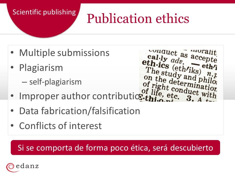 Scientific publishing Publication ethics Multiple submissions Plagiarism – self-plagiarism Improper author contributions Data fabrication/falsificatio
