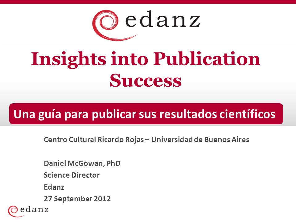 Scientific publishing The submission process Accepted publication.