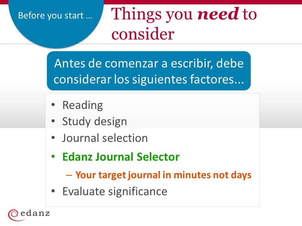 Before you start … Antes de comenzar a escribir, debe considerar los siguientes factores... Things you need to consider Reading Study design Journal s