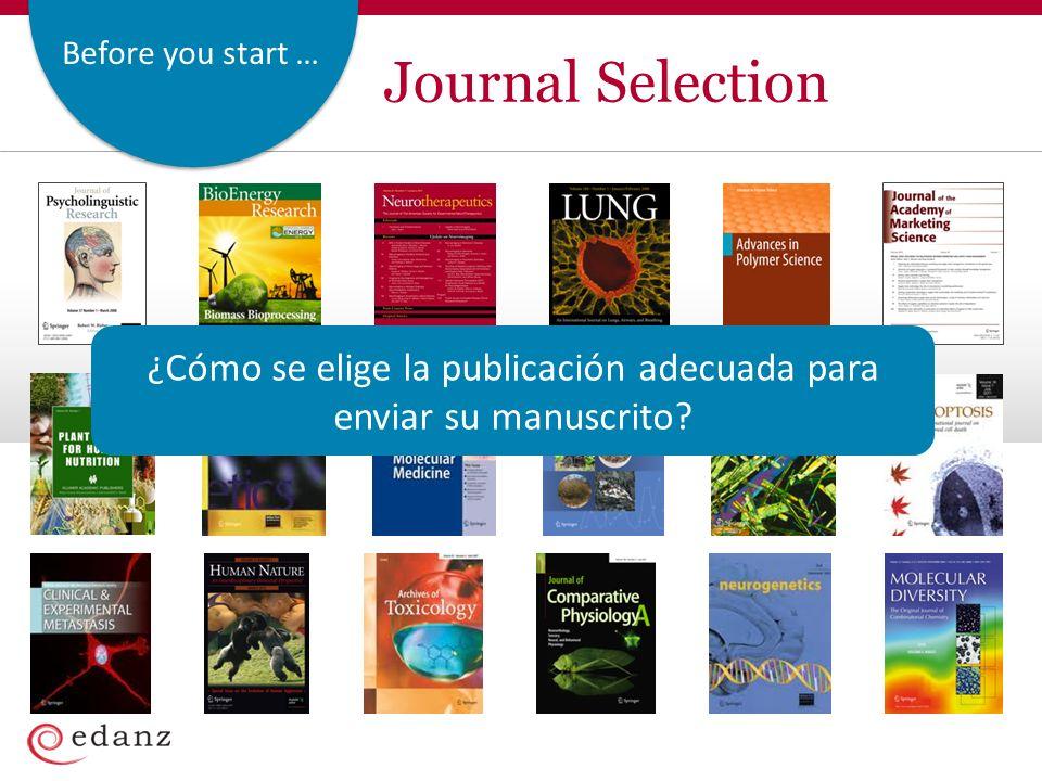 Before you start … Journal Selection ¿Cómo se elige la publicación adecuada para enviar su manuscrito