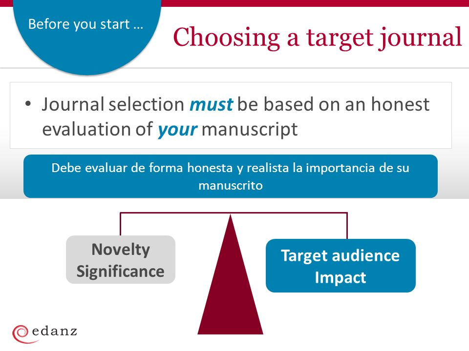 Before you start … Choosing a target journal Novelty Significance Target audience Impact Journal selection must be based on an honest evaluation of your manuscript Debe evaluar de forma honesta y realista la importancia de su manuscrito