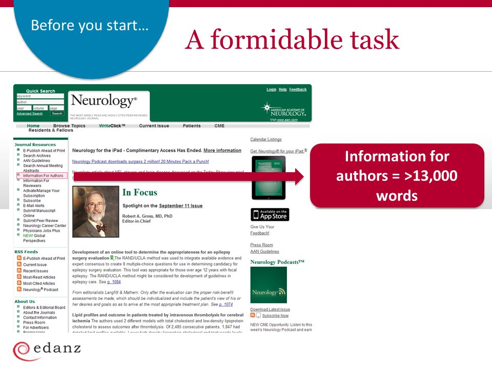 Before you start… A formidable task Information for authors = >13,000 words