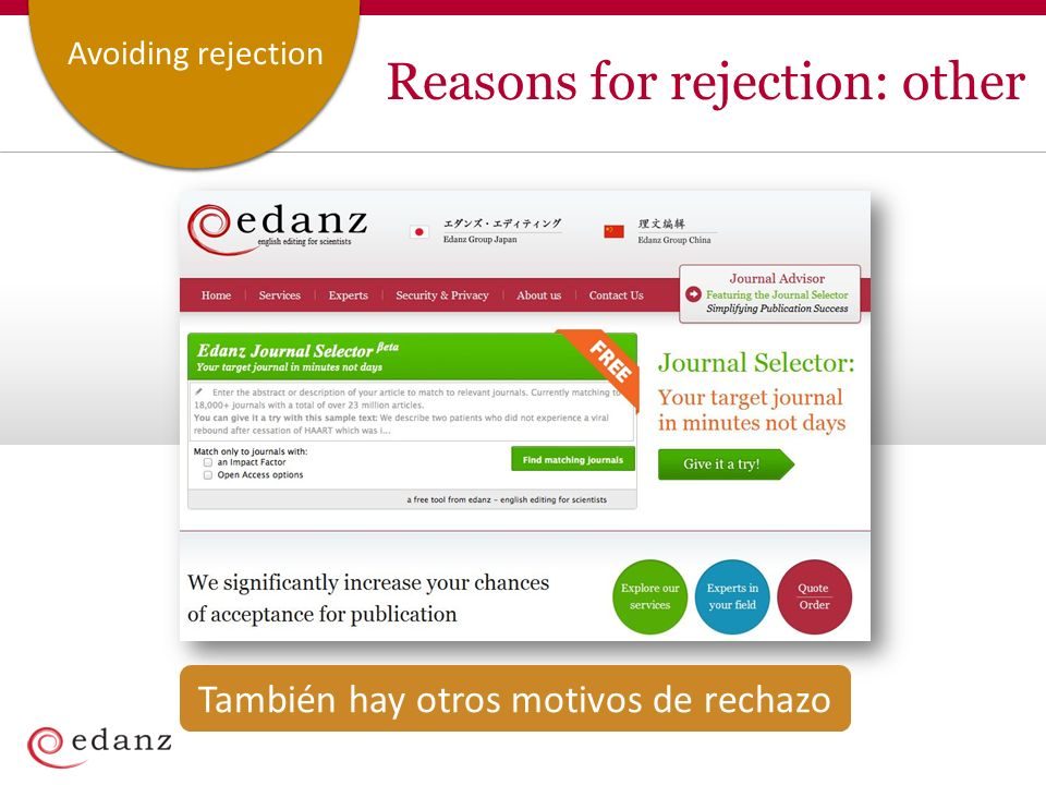 Customer ServiceAvoiding rejection Reasons for rejection: other Inappropriate journal selected Unlucky timing También hay otros motivos de rechazo