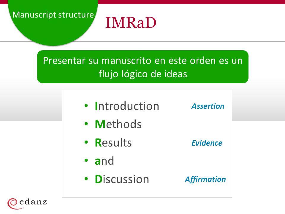 Manuscript structure IMRaD Introduction Methods Results and Discussion Assertion Evidence Affirmation Presentar su manuscrito en este orden es un flujo lógico de ideas