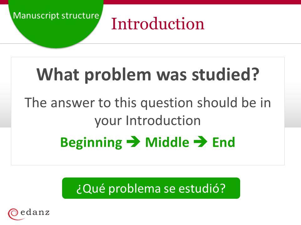 Manuscript structure Introduction What problem was studied.