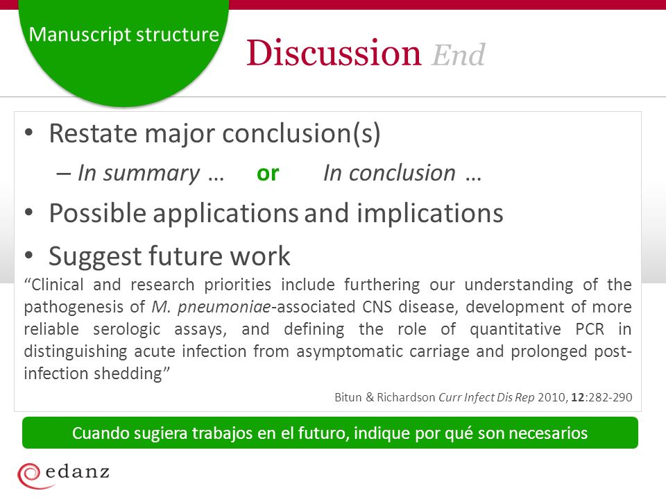 Manuscript structure Discussion End Restate major conclusion(s) – In summary …orIn conclusion … Possible applications and implications Suggest future work Clinical and research priorities include furthering our understanding of the pathogenesis of M.